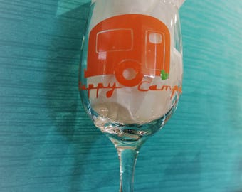 Happy Camper Wine Glass