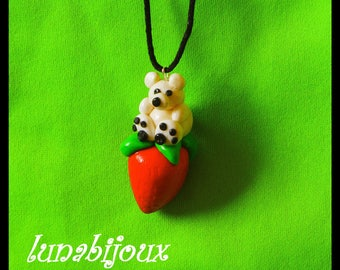 little bear necklace Strawberry polymer clay jewelry gift birthday Christmas 2016 collection
