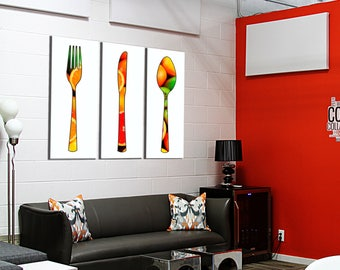 Painting on canvas covered triptych 3 x(55x120) citrus
