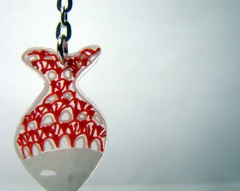 Earrings fish red and white shrink plastic