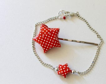 Star origami bracelet and hair clip set