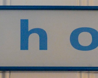 Vintage  Bell system telephone phone booth sign blue and white glass in frame