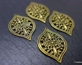 4 patterns filigree bronze 40 x 25 mm