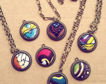 Necklaces with pendants created by hand using African fabrics 20 mm