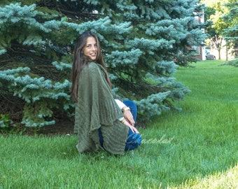 Wool Green Poncho