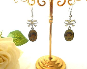Earrings with yellow Swarovski crystals