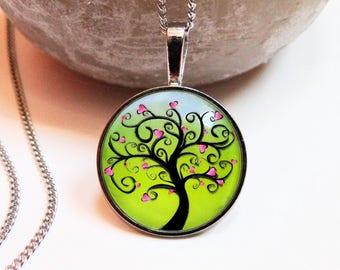 Necklace green tree hearts