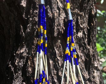 Blue and Yellow Porcupine Quill Loop Dangle