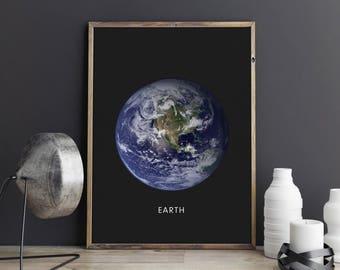 Earth print, Planet printable art, Planet poster, Modern art, Minimalist, Universe wall decor, Home decor, Space art, Best selling prints