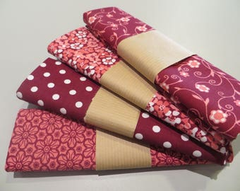 four cut 100% cotton fabric 50 x 50 cm, Burgundy tones