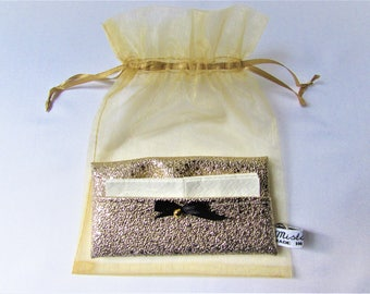 Faux Golden tissue case, put tissues, accessory bag, gift woman in organza bag, handmade
