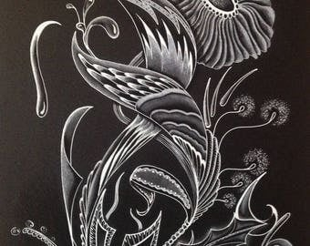 White pencil drawing / black - Floral 1