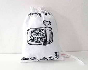 Pouch, white organic cotton lunch bag