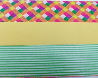 3 sheets of paper decopatch 40 X 60 cm leaf green, yellow stripe and multicolored square