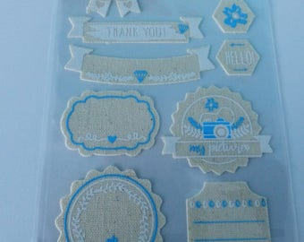 10 stickers label color and linen fabric and blue