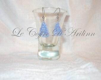 Earrings blue cone beads