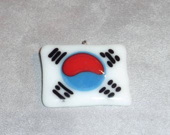 """Korea South"", unique fused glass pendant"
