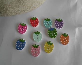 set of 10 Strawberry 2 holes wooden buttons