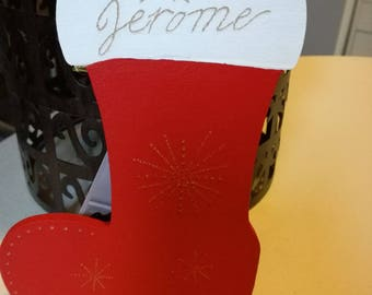 Boot customizable 15 cm hand - painted wood engraving of a name and Christmas decorations