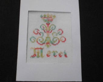 Card embroidered on canvas - thank you