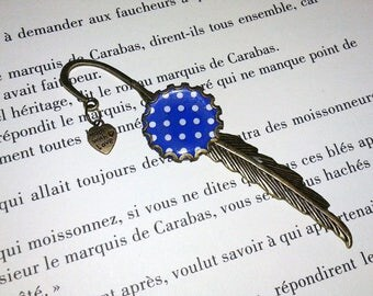 Bookmark feather - bronze - peas - blue / white