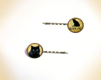 2 hair clips - vintage 'black cat - orange background'
