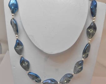 Necklace blue Lampwork Glass Beads translucent and 925 sterling silver