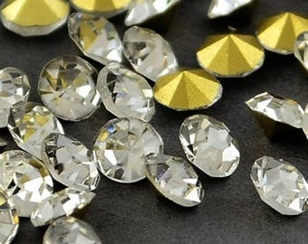 "Set of 100 rhinestones 3.3 mm ""diamond"" Crystal point plated gold"