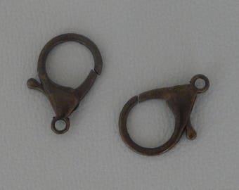 Set of 2 clasps color bronze