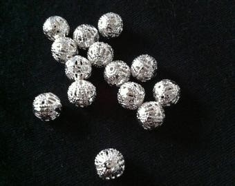 10 pearls drops 6mm silver hollow pattern