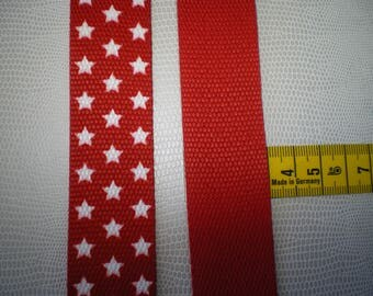 30 mm red with white stars polypropylene webbing
