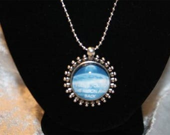 Earth and moon cabochon silver plated chain