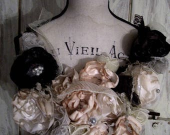 Lush roses wreath collar for the dressmaker's dummy, or to the decorate doors