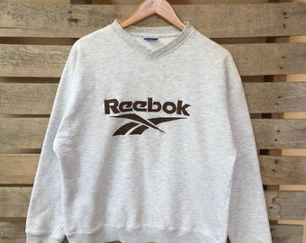 Rare! Vintage Reebok Sweatshirt Big Spell Embroidered Jumper Pullover 90s L Size Rare Item