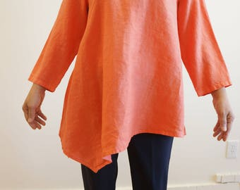 Women Loose fit Linen Unblance Top, Oversize Top, Plus Size Top, Summer Top, round neck top