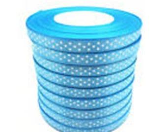 1 meter Ribbon turquoise blue polka dot 9mm