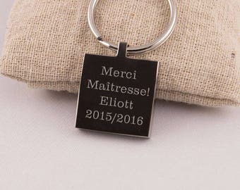 Key chain engraved text thank you teacher