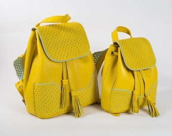 Yellow Backpack Set, Mommy and Me Backpack Set, Mother Daughter Backpack, Gift for Mom, Yellow Backpack, Mothers Day Gift
