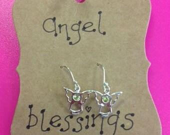 Sterling Silver Peridot Angel Earrings