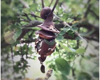 Fairy Bricabrac House pendant and bronze charm