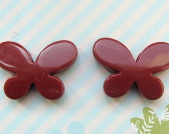 Set of 2 Butterfly 20x30mm chocolate shaped plastic beads