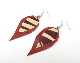 Brown leather leaves earrings