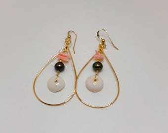 Gold Teardrop Hoop Earrings with Dangled Puka Shell, Pink Coral and Pearls. Handcrafted in Hawaii