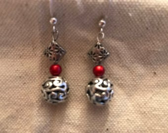 Silver Dangle Earrings with Red Bead