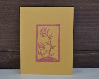Flower stamped cards set of 5