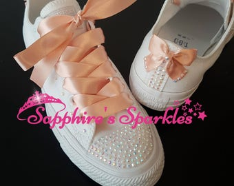 Customised Peach Sparkly White Crystal Mono Converse