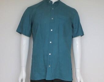 teal linen short sleeve shirt