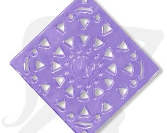 Grand connecteur - Différents coloris - connecteur/pendentif losange-carré 40mm acrylique transparente colorée, percé de multiples trous