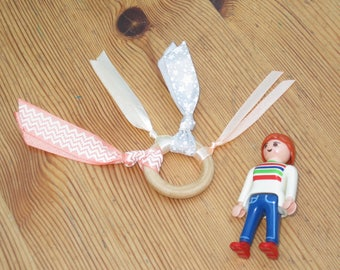 ribbons montessori 3 Baby Rattle - teething ring - educational toy
