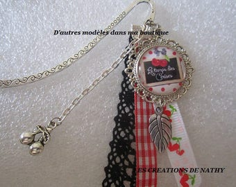 """Bookmark """"time of cherries"""" ribbons, lace and charms"""